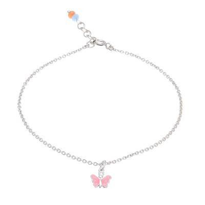 Sterling Silver and Quartz Butterfly Anklet from Thailand
