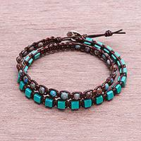 Agate beaded wrap bracelet, 'Glory of the Earth' - Agate Beaded Macrame Wrap Bracelet from Thailand