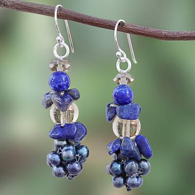Lapis lazuli and cultured pearl cluster earrings, 'Night Stones' - Lapis Lazuli and Cultured Pearl Cluster Earrings