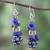 Lapis lazuli and cultured pearl cluster earrings, 'Night Stones' - Lapis Lazuli and Cultured Pearl Cluster Earrings thumbail