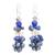 Lapis lazuli and cultured pearl cluster earrings, 'Night Stones' - Lapis Lazuli and Cultured Pearl Cluster Earrings (image 2a) thumbail