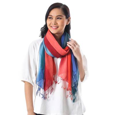 Cotton scarves, 'Sunset Breeze' (pair) - Blue and Red Cotton Wrap Scarves from Thailand (Pair)