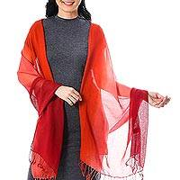 Cotton shawl, 'Beautiful Sunset' - Ombre Cotton Shawl in Red and Orange from Thailand