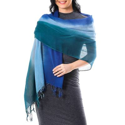 Cotton shawl, 'Cool Night' - Ombre Cotton Shawl in Blue from Thailand