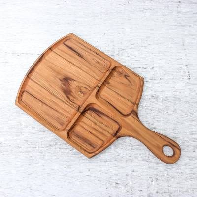 Teakwood tray, 'Delightful Portion' - Sectioned Teakwood Tray Crafted in Thailand