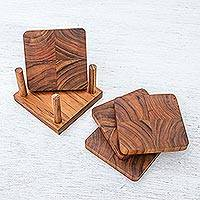 Teak wood coasters, 'Deep Nature' (set of 4) - Handmade Teak Wood Coasters from Thailand (Set of 4)