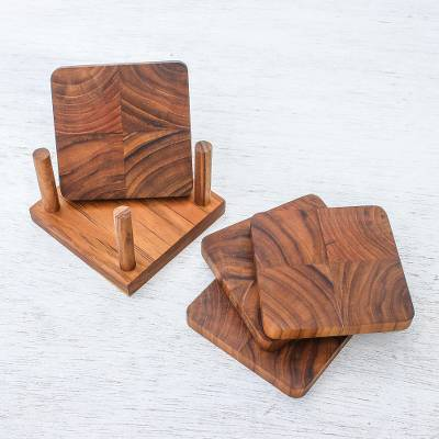 Teakwood coasters, 'Deep Nature' (set of 4) - Handmade Teakwood Coasters from Thailand (Set of 4)