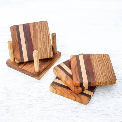 Wood coasters, 'Striped Nature' (set of 4) - Striped Wood Coasters from Thailand (Set of 4)