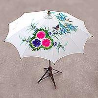 Cotton and bamboo parasol, 'Birds and Flowers' - Floral Bird-Themed Cotton and Bamboo Parasol from Thailand