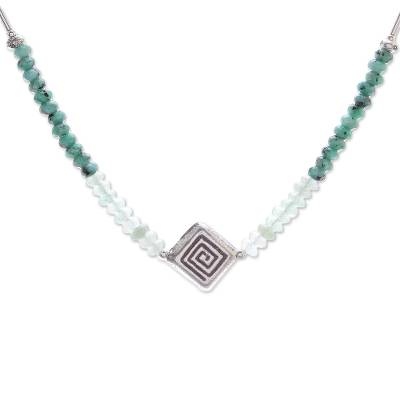 Karen Silver and Dyed Quartz Beaded Necklace from Thailand