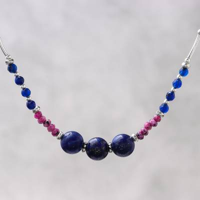 Lapis lazuli and quartz beaded necklace, 'Karen Summer' - Karen Silver Lapis Lazuli and Dyed Quartz Beaded Necklace