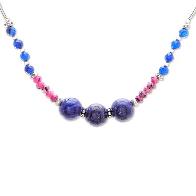 Karen Silver Lapis Lazuli and Dyed Quartz Beaded Necklace