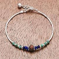 Multi-gemstone beaded bracelet, 'Nature's Call' - Handmade Karen Silver Multi-Gemstone Beaded Bracelet