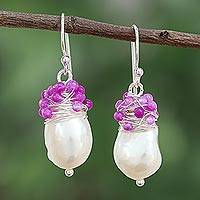 Cultured pearl and quartz dangle earrings,' Glamorous Season' - Silver Accented Cultured Pearl and Quartz Earrings