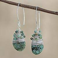 Reconstituted turquoise dangle earrings, 'Glamorous Season' - Silver Accented Recon. Turquoise Dangle Earrings