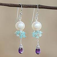 Multi-gemstone dangle earrings, 'Moon Beauty' - Glowing Multi-Gemstone Dangle Earrings from Thailand