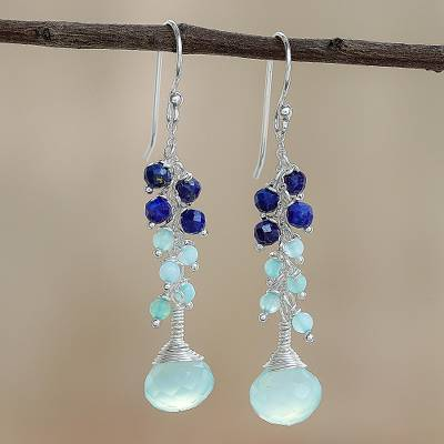 Quartz and lapis lazuli dangle earrings, 'Romantic Blue' - Quartz and Lapis Lazuli Dangle Earrings from Thailand