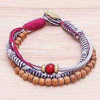 Wood and cotton beaded strand bracelet, 'Cute Appeal' - Wood and Cotton Beaded Strand Bracelet in Purple