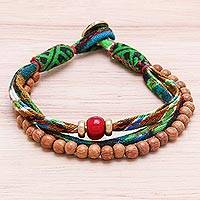 Wood and cotton beaded strand bracelet, 'Intricate Appeal' - Wood and Cotton Beaded Strand Bracelet from Thailand