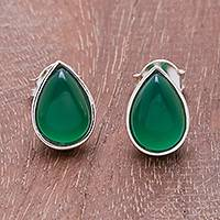 Onyx stud earrings, 'Droplet Gleam in Green' - Drop-Shaped Green Onyx Stud Earrings from Thailand