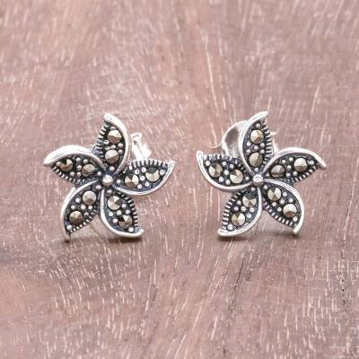 Sterling silver stud earrings, Glittering Flowers