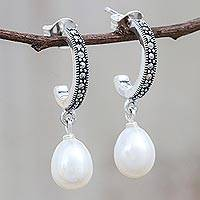 Cultured pearl dangle earrings, 'Moonlight Curve' - Cultured Pearl Half-Hoop Dangle Earrings from Thailand