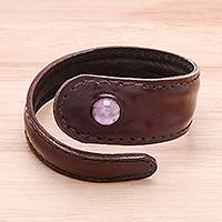Men's amethyst and leather wrap bracelet, 'Rugged Solitaire in Purple' - Men's Brown Leather and Amethyst Bead Tapered Wrap Bracelet