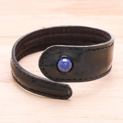 Mens lapis lazuli and leather wrap bracelet, Rugged Solitaire