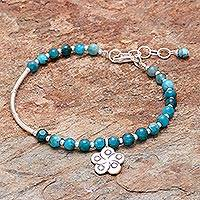 Apatite beaded bracelet, 'Beautiful Flower' - Floral Apatite Beaded Bracelet from Thailand