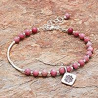 Agate beaded bracelet, 'Pink Hill Tribe' - Floral Agate Beaded Bracelet from Thailand