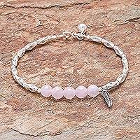 Rose quartz beaded bracelet, 'Ringing Feather' - Hill Tribe Rose Quartz Beaded Bracelet from Thailand