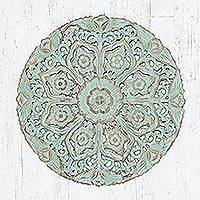Teakwood relief panel, 'Circular Flora in Green' - Distressed Floral Teakwood Relief Panel in Green