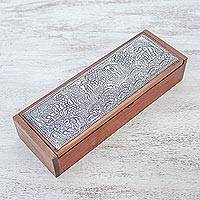 Nickel accented teakwood decorative box, 'Elephant's Life' - Nickel Accented Teakwood Elephant Decorative Box