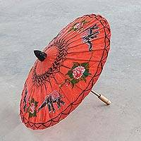 Paper parasol, 'Elephant Parade in Scarlet' - Elephant Motif Paper Parasol in Scarlet from Thailand
