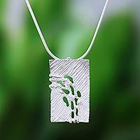 Sterling silver pendant necklace, 'Nature Fronds' - Modern Sterling Silver Pendant Necklace Crafted in Thailand