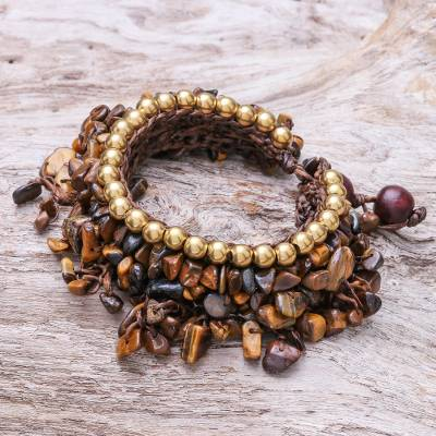 Tiger's eye beaded charm bracelet, 'Bohemian Luster' - Tiger's Eye Beaded Charm Bracelet Crafted in Thailand