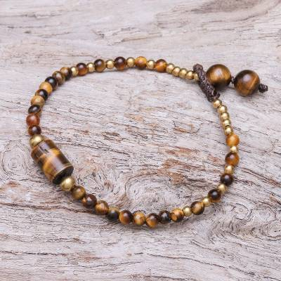 Tiger's eye beaded pendant bracelet, 'Boho Thai' - Tiger's Eye Beaded Pendant Bracelet from Thailand