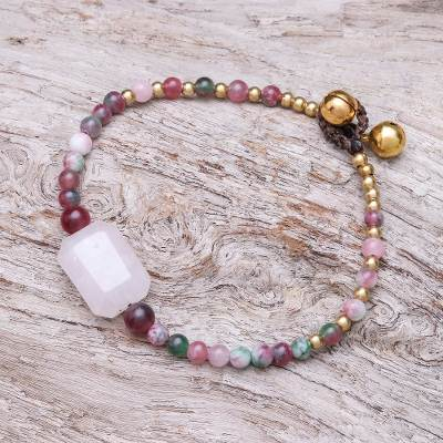 Rose quartz and agate beaded pendant bracelet, Magical Day