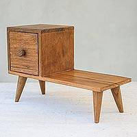 Teakwood decorative box, 'Modern Bench' - Miniature Furniture Teakwood Decorative Box from Thailand