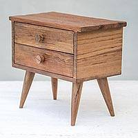 Teakwood jewelry box, 'Modern Dresser' (2 drawers) - Modern Teakwood Jewelry Box with Two Drawers