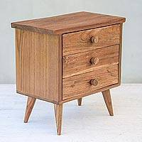 Teakwood jewelry box, 'Modern Dresser' (3 drawers) - Modern Teakwood Jewelry Box with Three Drawers