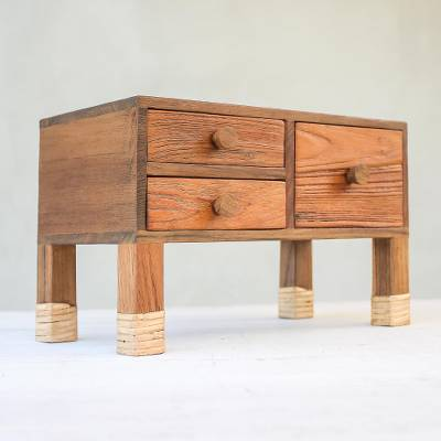 Teak wood jewelry box, 'Contemporary Dresser' - Teak Wood Jewelry Box with Three Drawers from Thailand