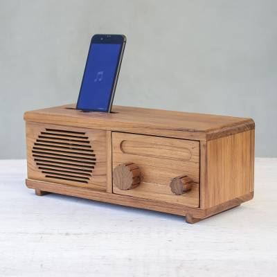 Teakwood phone speaker, 'Vintage Radio' - Teakwood Phone Speaker Shaped Like a Vintage Radio