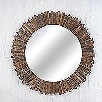 Teakwood wall mirror, 'Teak Rays' - Hanmade Teakwood Wall Mirror from Thailand