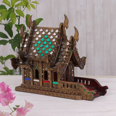 Wood spirit house, 'Lanna Temple' (11.5 inch) - Wood and Glass Spirit House Crafted in Thailand (11.5 in.)