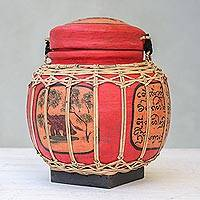 Ceramic decorative jar, 'Elephant of Lanna' - Elephant-Themed Red Ceramic Decorative Jar from Thailand