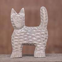 Wood sculpture, 'The Cat' - Distressed Raintree Wood Cat Sculpture from Thailand