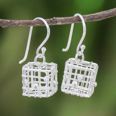 Sterling silver dangle earrings, Mysterious Cages
