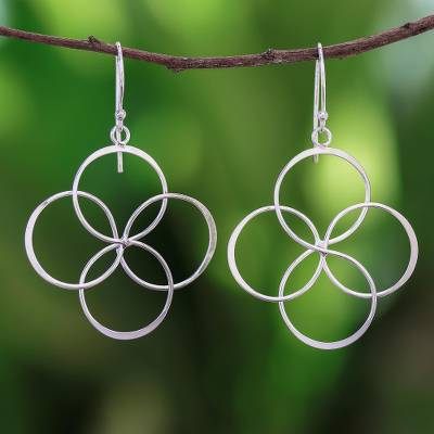 Sterling silver dangle earrings, 'Quartet Intersections' - Circle Pattern Sterling Silver Dangle Earrings from Thailand