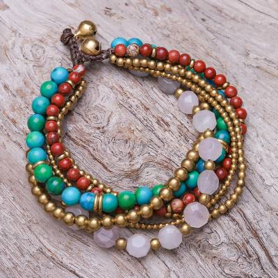 Multi-gemstone beaded torsade bracelet, 'Thai Mood' - Multi-Gem Beaded Torsade Bracelet Crafted in Thailand